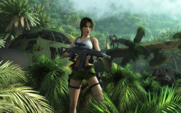 Фото обои девушка, самолет, шорты, джунгли, автомат, динозавры, Tomb Raider
