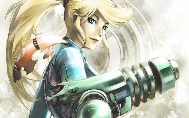 Фото обои Metroid, Samus, арт, хвостик, девушка, оружие