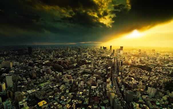 Фото обои солнце, тучи, город, мегаполис