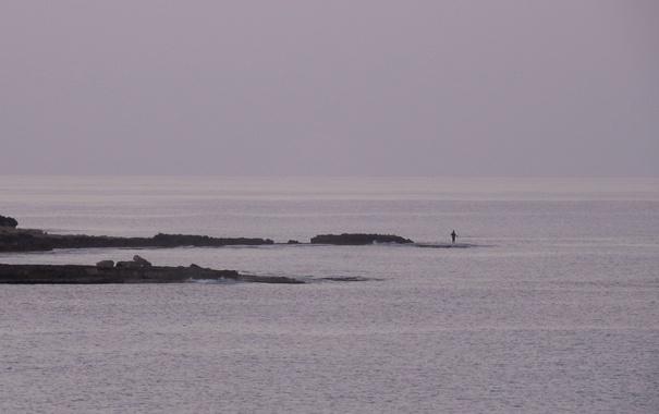Фото обои море, пейзаж, widescreen, обои, рыбак, wallpaper, широкоформатные