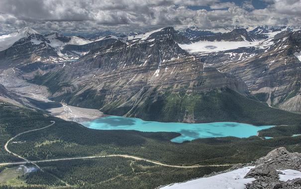 Фото обои небо, снег, горы, тучи, озеро