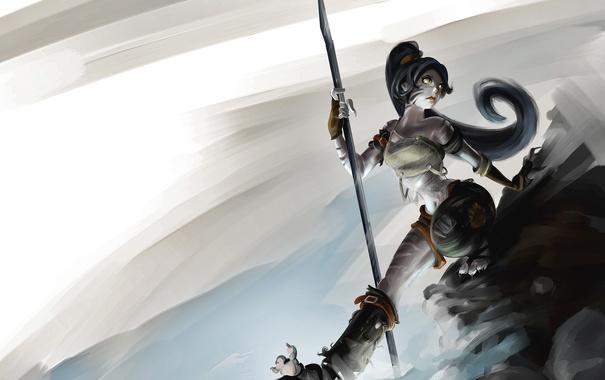 Фото обои девушка, арт, копье, girl, cat, league of legends, Nidalee