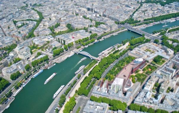Фото обои река, Франция, Париж, корабль, дома, панорама, улицы