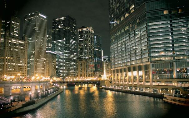 Фото обои вода, ночь, небоскребы, Чикаго, USA, Chicago, мегаполис