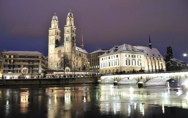 Фото обои зима, снег, ночь, мост, огни, река, дома