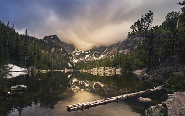Фото обои горы, Colorado, природа, деревья, Rocky Mountain National Park, озеро, небо
