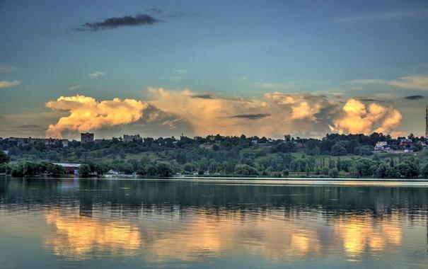 Фото обои небо, облако, Калуга, Kaluga, водохранилище, Яченское