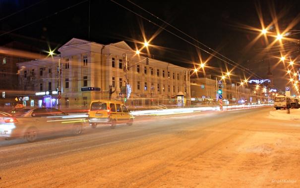 Фото обои машины, город, вечер, фонари, Россия, Russia, Калуга