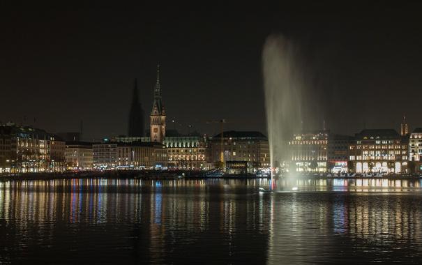 Фото обои небо, ночь, дома, Германия, фонтан, Гамбург, ратуша
