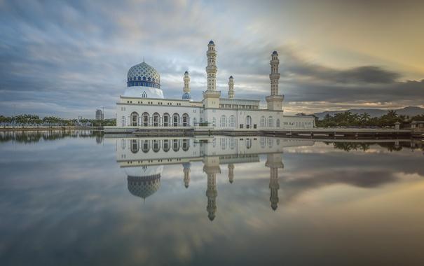 Фото обои облака, отражение, зеркало, Мечеть, Малайзия, Likas Бэй, Сабах