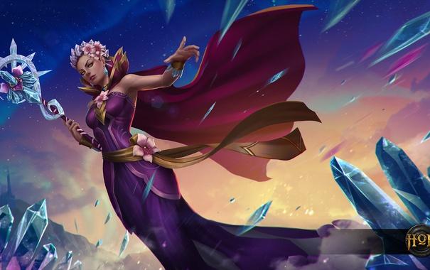 Фото обои девушка, магия, платье, кристалы, жезл, heroes of newerth, ellonia