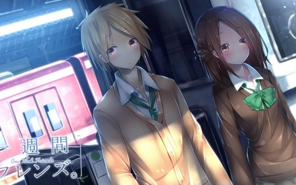 Фото обои девушка, аниме, арт, форма, парень, школьники, ryosios