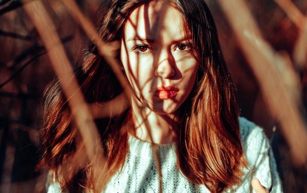 Фото обои солнце, губки, кареглазая, Anne Hoffmann