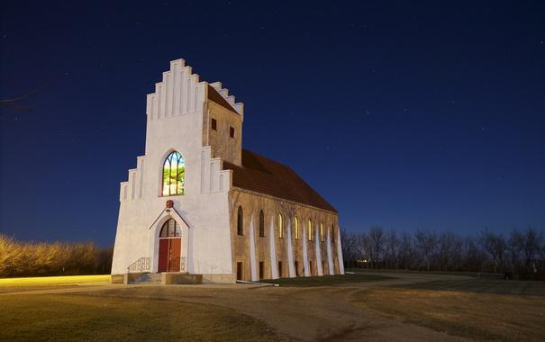 Фото обои небо, звезды, свет, ночь, церковь, сельская местность