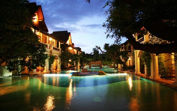 Фото обои вечер, бассейн, Thailand, курорт, resort, entrance, khum phaya