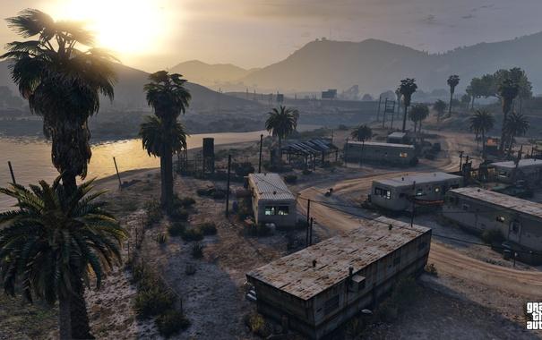Фото обои вечер, деревня, пригород, Grand Theft Auto V, gta 5
