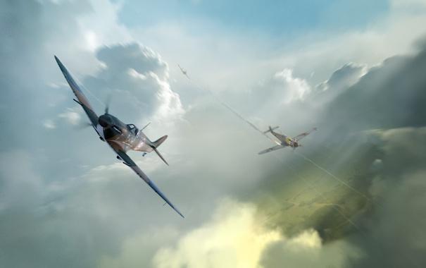 Фото обои Небо, Облака, Самолет, Дым, Самолеты, Огонь, Истребитель