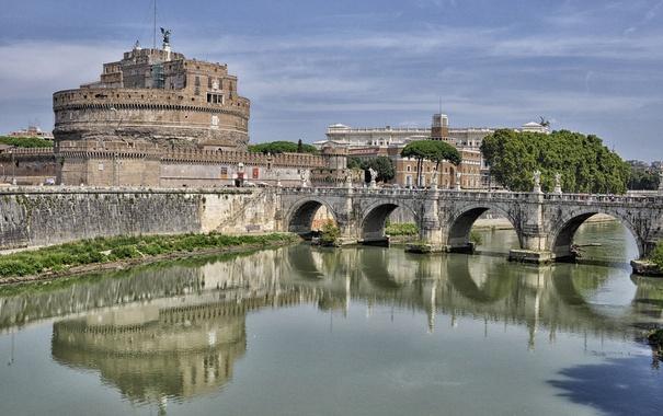 Фото обои небо, мост, река, Рим, Италия, Тибр, замок Святого Ангела