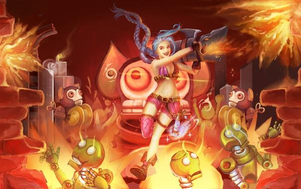 Фото обои взрывы, роботы, league of legends, jinx, джинкс