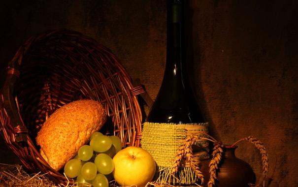 Фото обои вино, корзина, бутылка, яблоко, хлеб, виноград, кувшин