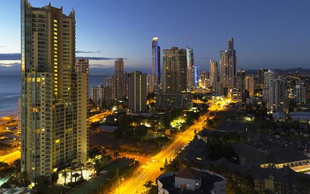 Фото обои город, огни, побережье, дороги, дома, вечер, отели