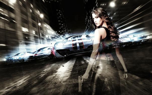 Фото обои abstract, desktop, hot, need for speed, black, cars, girls