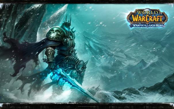 Фото обои король лич, рыцарь смерти, World of Warcraft Wrath of the Lich King, Артас Менетил