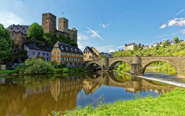 Фото обои мост, река, замок, дома, Германия, Runkel