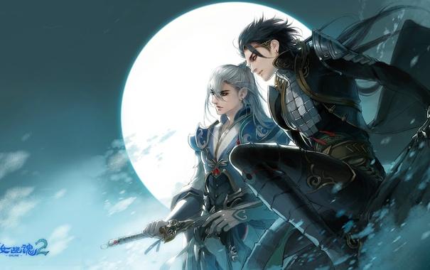 Фото обои ночь, оружие, луна, игра, воин, персонаж, Chost Story 2