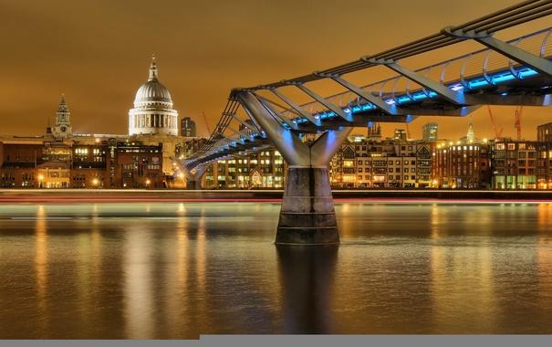 Фото обои небо, река, Англия, Лондон, дома, Темза, мост тысячелетия