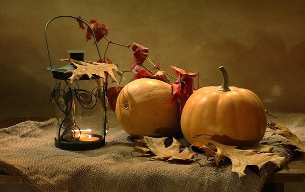 Фото обои осень, листья, фонарь, тыква