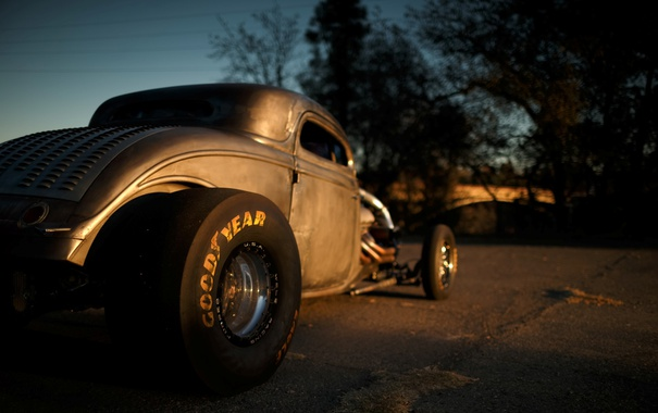 Фото обои Drag Car, Coupe, 1934, Big Block, Kind of in the back, Twin Turbo, Hot Rod