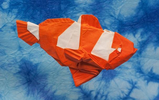 Фото обои оригами, рыбка, фон, бумага