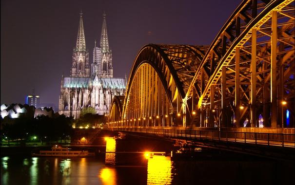 Фото обои ночь, мост, огни, река, вечер, собор, германия