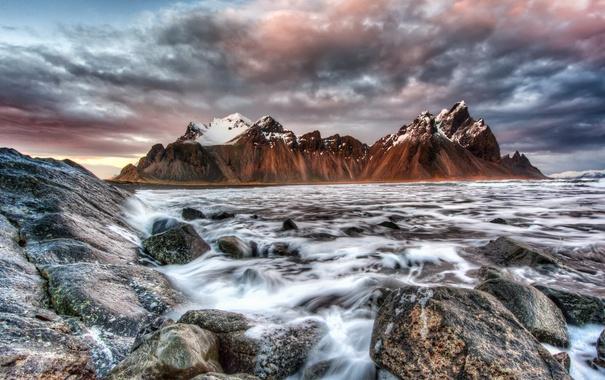 Фото обои горы, Исландия, море