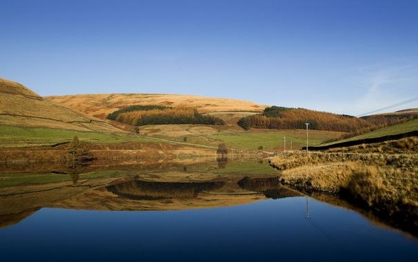 Фото обои осень, небо, горы, озеро, отражение, холмы