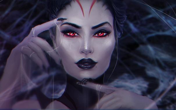 Фото обои девушка, лицо, паутина, паук, руки, арт, красные глаза