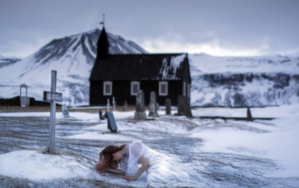 Фото обои зима, девушка, кладбище