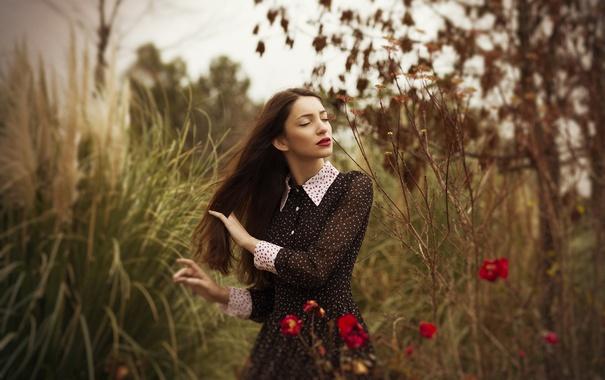 Фото обои девушка, природа, лицо, платье