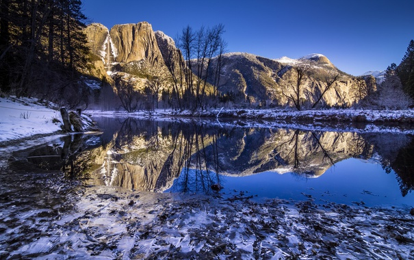 Фото обои горы, озеро, утро