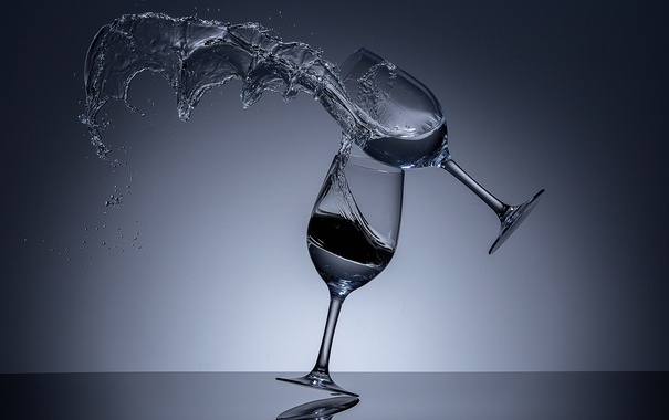 Фото обои бокал, всплеск, падение, When Wine Glasses Fight