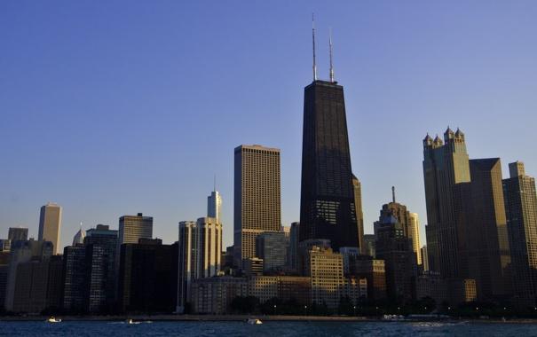 Фото обои city, небоскребы, вечер, америка, чикаго, мегаполис, штаты