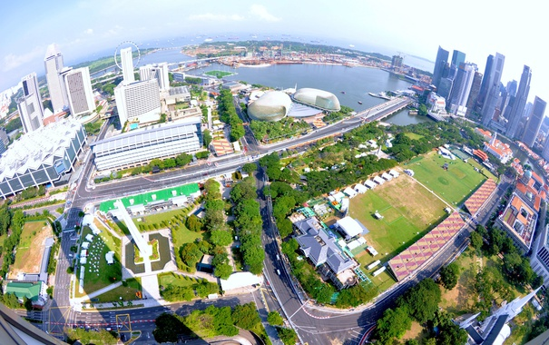 Фото обои дороги, дома, горизонт, панорама, Сингапур, высотки, Singapore