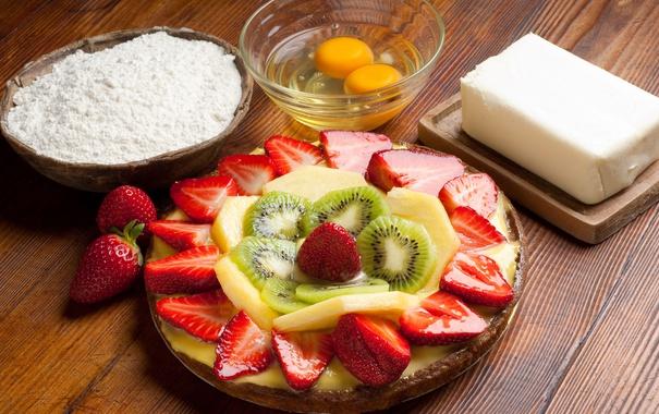 Фото обои ягоды, киви, клубника, пирог, торт, крем, десерт