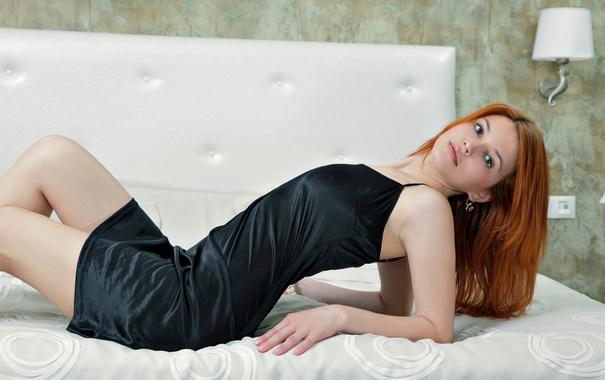 Фото обои wallpaper, красавица, model, bed, beauty, жемчуг, violla a