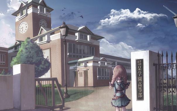 Фото обои часы, девочка, Здание, косички, школа