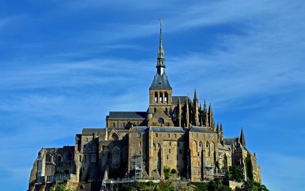Фото обои небо, замок, Франция, Нормандия, Мон-Сен-Мишель