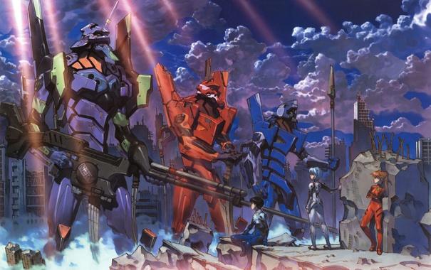 Фото обои оружие, фантастика, руины, Арт, Neon Genesis Evangelion, постапокалипсис, Ayanami Rei