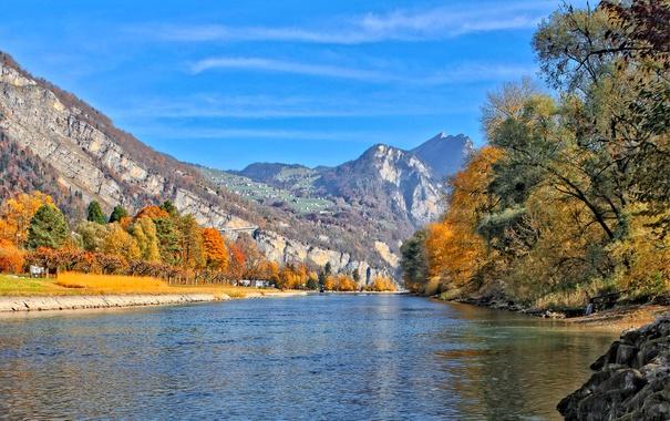 Фото обои осень, деревья, горы, озеро, дома, Швейцария, Альпы