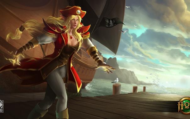 Фото обои девушка, корабль, шляпа, пират, Heroes of Newerth, Artesia